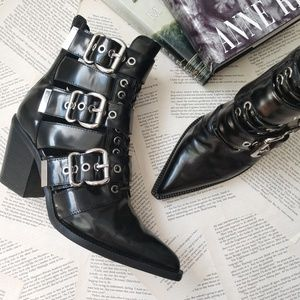 JEFFREY CAMPBELL Caceres Leather Buckled Heel Boot
